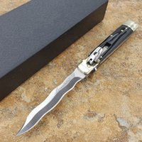 Wholesale natural camps - Italy mafia plus 9 inch leverletto D2 wave bayonet blade Natural Horn handle pocket knife automatic knife camping knife