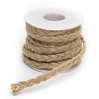 Wholesale rope spools - Wholesale- DIY Craft Vintage Natural Hessian Jute Twine Rope Wedding Party Burlap Ribbon Decor Home Spool Festival Scrapbooking 5M