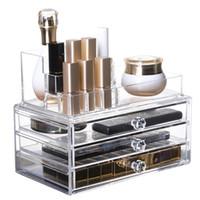 claro portaescobillas al por mayor-Nuevo Clear Acrylic Makeup Makeup Organizador Cajón de almacenamiento Caja de lápiz labial Holder Makeup Organizador Caja de almacenamiento de cosméticos de escritorio