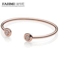 perlen rosa armband großhandel-FAHMI 100% 925 Sterling Silber New Classic Open Rose Armband DIY Perlen Anhänger Geschenk 580528CZ