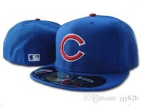 Wholesale cubs team - Men's Cubs Royal Blue color on field fitted hat Top Quality flat Brim embroiered Letter Team logo fans baseball Hats cubs full closed c