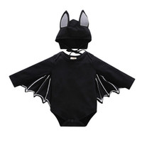 Wholesale animal romper hat for sale - New Child Halloween Costumes European and American Bat Sleeve triangles Baby Romper Hat Halloween Baby Clothes Sets