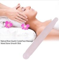 Wholesale spa for massage - Natural Rose Quartz Crystal Massage Tool Gua Sha Scraping Wand For Massage Roller Face Massager Pointed Stick for Spa CCA10038 120pcs