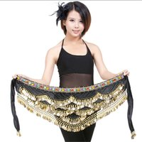 Wholesale Belly Hip Skirts - 9 Colors Professional Belly Dance Clothes Women Belly Dance Accessories Practice Skirt Belt Hip Wrap Waist Chain 328 Coin Belly Dance Scarf