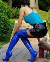 botas puntiagudas hasta el muslo al por mayor-US4-13 Ladies Sexy 12 CM Botas Sobre la Rodilla Muslo Pointy Toe High Metal Tacones Zip Club Zapatos Mujer Slim Fit