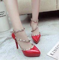 Wholesale heeled shoes one strap - Europe and the United States sexy rivets pointed high heels, elegant one word buckle waterproof platform fine heel shoes free shipping