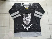 Wholesale connor costume - WAKANDA Jersey 2018 BLACK PANTHER T'CHALLA X MOIVE Costume Hockey Jersey Black Double Stiched Black