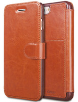 Wholesale coin case leather resale online - For iPhone Plus Leather Wallet Case with Cards Slot Metal Magnetic Slim Fit Heavy Duty PU Flip Case Brown