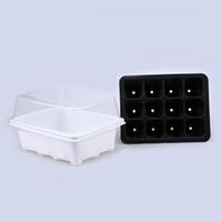 Wholesale Vinyl Coat Black - 12 Cell Seedling Tray Black Propagation Tray Flower Pot Plug Plant Kit Nursery Pots Plant Seed Cloning Case Insert Clone Grow Box 5PCS