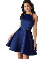 бисерные черные вечерние платья формальные оптовых-2018 Nvy синий вечернее платье женщин Холтер бисером Homecoming платье Короткие онлайн атласная вечернее платье с карманами