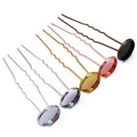 mücevher yapımı ayarları toptan satış-Toptan 300 adet Saç Sopalarla Tokalar 12mm Bezel Boş Ayarları Saç Combs Takı Yapımı için Bulgular HCF07
