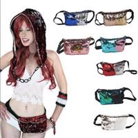 Wholesale Waist Sequin Belts - Women Mermaid Sequins Glitter Waist Bag Travel Pack Glitter Fanny Pack Belt Bag Hip Purse 11 Styles OOA3852