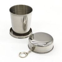 Wholesale travel folding cup stainless steel - Portable Folding Cup 240ml Stainless Steel Portable Outdoor Travel Camping Folding Collapsible mugs Metal Telescopic Keychain Mugs