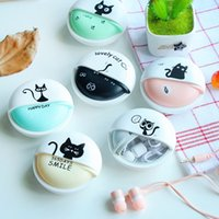 Wholesale Cat Ears Iphone Cases - Cute Girls Cat Macarons 3.5mm in-ear Stereo Earphones with Earphone Case for iPhone Xiaomi Girls Kid Child Student for MP3 Gift