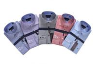 imagens de high fashion dress shirt venda por atacado-Real imagem Moda Homens De Luxo Camisas de Manga Longa Camisas de Vestido Dos Homens Homem Camisa de Algodão Camisa Slim Fit Plus Size Alta qualidade Chemise Homme