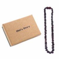 rohe steinperlen großhandel-Rohe Baltischen Bernstein Zahnen Halskette für Baby (Cherry Raw) - 3 Größen - DIY Perlen Halskette-Natursteine - Labor getestet Y1892806