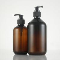 bouteille en plastique marron achat en gros de-(10pcs) 300 ml / 500 ml vide bouteille de lotion en plastique brun, bouteille de lotion pompe bouteille de savon liquide PET