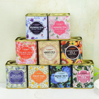 Wholesale tin gift cans for sale - Mini Tinplate Trumpet Tea Canister Metal Square Storage Box Gifts Boxes Portable Teas Tins Wedding Birthday Can Styles AAA1413