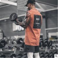 hochwertiges bodybuilding großhandel-Hohe Qualität 2019 Sommer Neueste Marke Mens Curved Hem Patchwork Turnhallen Stringer Weste Bodybuilding Kleidung Fitness Mann Tanks Tops