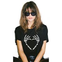Wholesale Skull Womens Shirts - TEEHEART 2017 New Womens T shirt Cool Bone Skull hand Printed T-shirt Tees Harajuku Tshirt Plus size W012