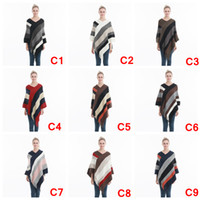 Wholesale blue fur scarf for sale - Group buy Women Striped Tassel Poncho Sweater Knit Scarf Wrap Loose Shawl Vintage Scarves Cloak Coat Girls Winter Warm Cape Clothes AAA1079