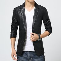 Wholesale Two Button Leather Jacket - Wholesale- high quality men slim suit collar solid water wash Faux leather blazers casual leather jacket coat two button multi pocket