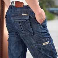 pantalones vaqueros de carga militar al por mayor-Cargo Jeans Men Big Size 29 -40 42 Casual Military Multi-Pocket Jean Ropa masculina 2017 Jeans de lujo para hombre Jeans de diseño