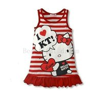 Wholesale military style shorts - Hello Kitty Style Cartoon Pattern Summer Kids Dress Princess Girl Dress For Party Costume For Girls Dresses Children Clothing
