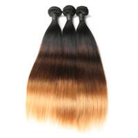 уток для волос оптовых-Бразильские прямые ombre волос ткать 3 пучки Реми волос 10-30 дюймов Ombre наращивание волос Бесплатная доставка машина двойной уток