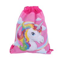 Wholesale drawstring packaging resale online - Nonwoven Fabric Pink Pulling Rope Storage Package Cartoon Unicorn Children Swimming Bags Multifunction Drawstring Bag hj X