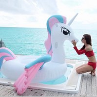 Wholesale air fun - Giant Colorful Unicorn Pool Float Inflatable Colored Pegasus Float Air Mattress Ride-on Swimming Ring Party Fun Water Toys EEA269