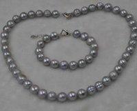 amethyst grau perlenarmbänder großhandel-11mm graue Süßwasserperle stellt Halskette 45cm und 18cm Armband freies Verschiffen ein
