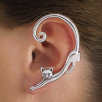 ingrosso orecchini del polsino animale-Orecchini in oro placcato oro creativo di alta qualità placcati orecchino a forma di gatto piccolo animali orecchio Yiwu fabbrica all'ingrosso miglior prezzo orecchino gioielli