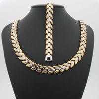 Wholesale rice plants - Grain shape of rice Stainless steel fashion golden fashion suit Bracelet + Necklace for women and men