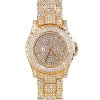 Wholesale Ladies Vintage Gold Watches - 2017 Brand New vintage Ladies Luxury rose Gold Quartz dress Wristwatches Women Rhinestone Watches steel bling bling diamond
