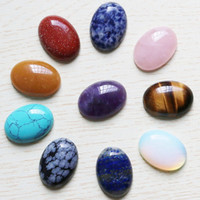 oval kabakon halka toptan satış-Toptan 10 adet / grup Doğal taş Oval CAB CABOCHON Gözyaşı Boncuk Renk karıştırma 18 * 25mm DIY Takı yapımı halka Tatil hediye Ücretsiz kargo