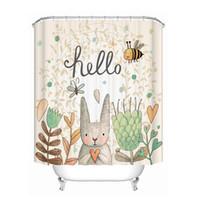 ткани подарки оптовых-Drop Ship Hello Rabbit Shower Curtain Waterproof Mildewproof Polyester Fabric Bath Curtain Bathroom Product With 12 Hooks Gift