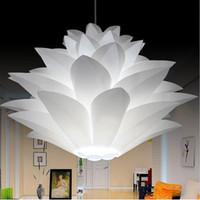 Wholesale Lotus Pendant Lamp - Lowest price on sale DIY Modern pinecone Pendant light creative lily lotus novel led e27 35 45 55cm iq puzzle lamp white