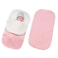 bebek uyku tulumu kundaklama toptan satış-Çanta Bebek Sıcak Kundak Kalın Battaniye Bebek Bebek Kundaklama Wrap Örme Zarf Arabası Uyku Çuval Footmuff 0-1Y Sleeping Yenidoğan