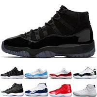 Wholesale hockey baseball caps - 2018 Men 11 11s Prom Night Cap and Gown Basketball Shoes Bred Concord 45 PE Gym Red Women Sports Sneakers size 36-47