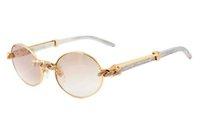 ingrosso occhiali da sole a specchio di fabbrica-Prese di fabbrica occhiali da sole rotondi con diamanti di moda retrò 7550178 occhiali da sole a specchio in metallo di lusso di alta qualità con gambe a specchio Dimensioni: 55 / 57-22-140mm