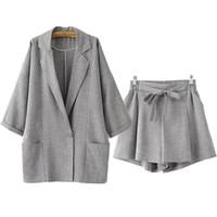 roupa de luxo venda por atacado-Designer de luxo Blazer Ternos para As Mulheres Soltas Único Botão Bochecha de Linho Entalhado e Elástico Na Cintura Shorts Cinza Set