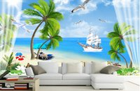 materiais de parede para sala de estar venda por atacado-Vista para o mar wallpapers para sala de estar TV sofá 3D mural papel de parede material verde parede de fundo
