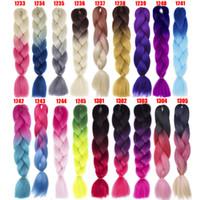 ombre tranchant les cheveux achat en gros de-100g Synthétique Jumbo Tresses Cheveux 24 pouce Haute Température Fiber Jumbo Brading Ombre Crochet Tressage Extensions de Cheveux