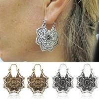 ingrosso orecchini cavi-Orecchini pendenti con fiore antico Gypsy Mandala Orecchini in argento con oro antico Orecchini con cerchio etnico Orecchini pendenti per orecchini donna Boho Gioielli