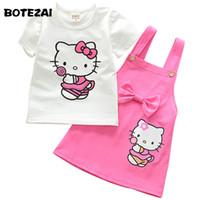 terno animal coreano venda por atacado-BOTEZAI Meninas Olá Kitty Coreano Crianças Roupas Crianças Ternos Conjuntos de Roupas de Verão Do Bebê Da Menina Do Partido Rosa 2 pcs Conjunto De Saia De Natal