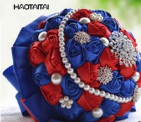 flor rosa colores azul al por mayor-Nupcial Ramos Azul Elegante Rosa Blanco Marfil Boda Flores Satén Rose Perlas de plata Encaje Broche Bouquet 7 colores opcionales