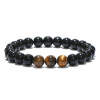 Wholesale white tiger plate - Minimalist Natural Stone Tiger Eyes Beads Bracelet Charms Obsidian Buddha Meditation Braclet For Men Yoga Jewelry Pulseira Homme
