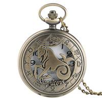 zodyak cep saati toptan satış-Toptan Bronz 12 Takımyıldızları Tema Serisi Kuvars Pocket Watch Modern Zodyak Saat Zinciri Noel Doğum Günü Hediye Dropship