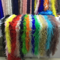 Wholesale white feather boas - 2meters  Lot White Black Beige Ostrich Feather Boa Costumes  Trim for Party 35gram Dyed White and Black Wedding Decorations Ostrich Plumage